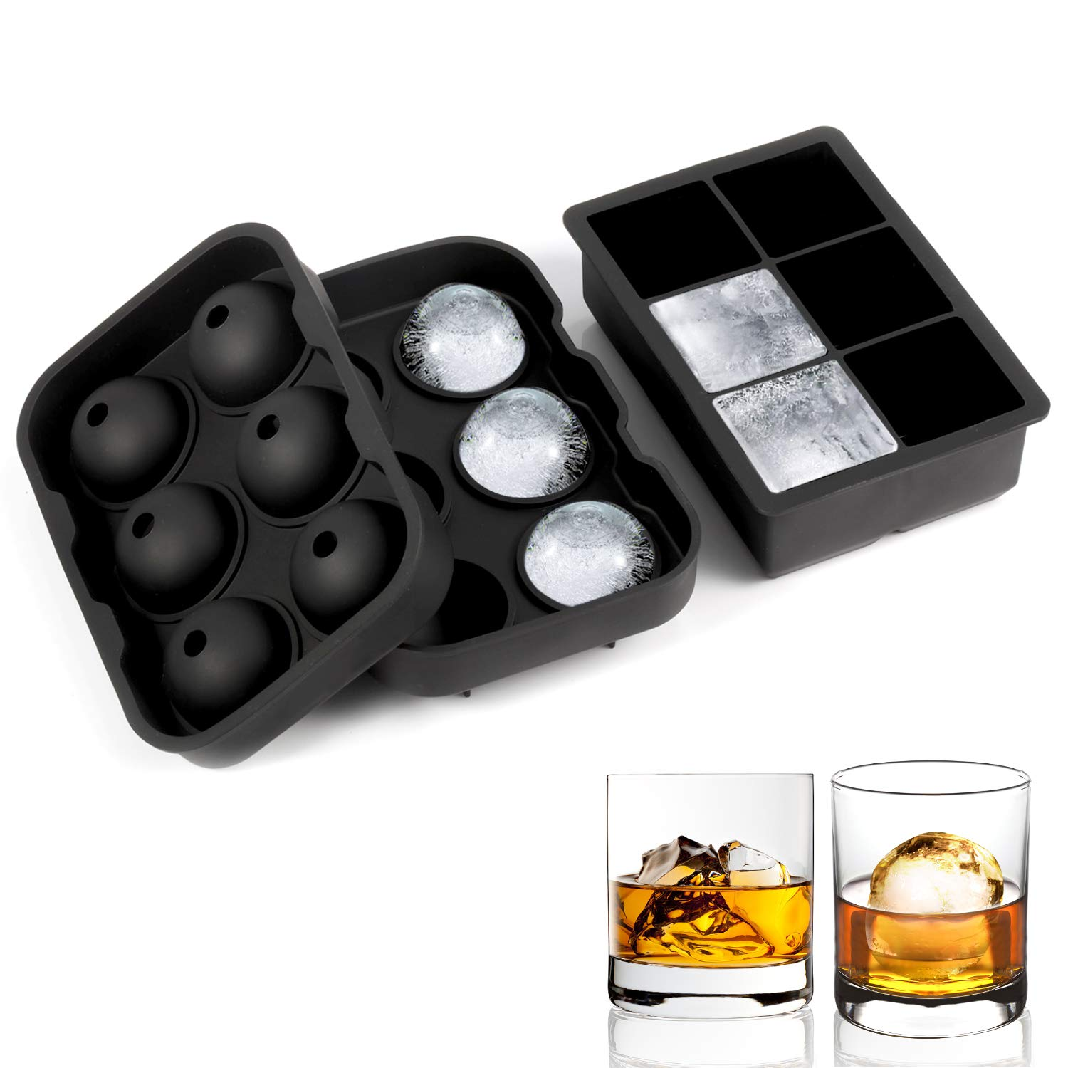 Ice Cube Trays Silicone, Ice Ball Mold Large Ice Cube Molds Reusable and BPA Free Ice Tray for Whiskey Cocktails and Bourbon - 2 Pack (dark-black) by Adoric