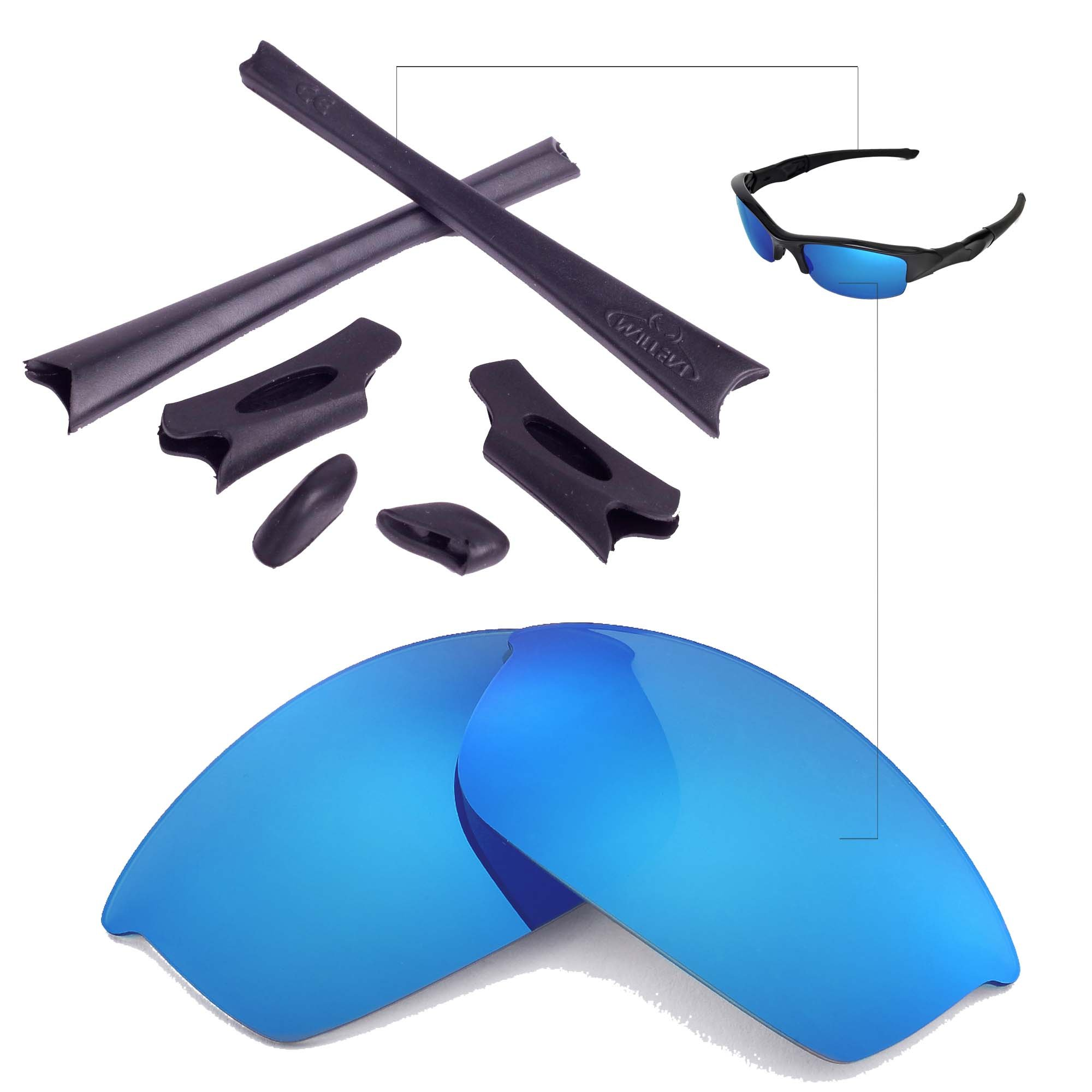 Walleva Replacement Lenses Or Lenses/Rubber Kit for Oakley Flak Jacket Sunglasses - 26 Options Available (Ice Blue Non-Polarized Lenses + Black Rubber) by Walleva