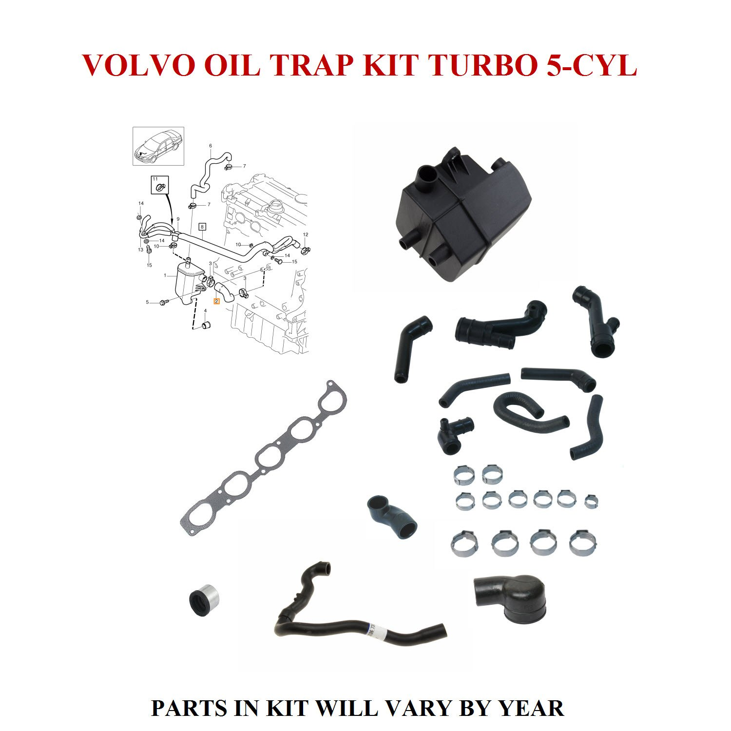 Oil Trap Kit For Volvo 5 Cylinder Turbo 2004 2007 S60 Exhaust Diagram V70 Parts S80 Xc70 Xc90 See Applications 8692211 Automotive