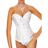 Yummy Bee - Corset Women - Bridal Ivory White Basque - Gothic Black Bustier - Plus Size 6-24