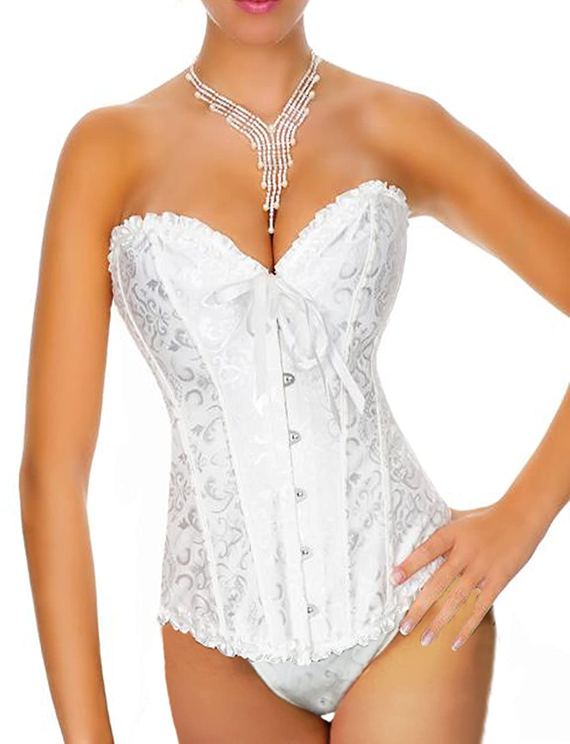 d9542a477f8bf Yummy Bee Womens Corset Set Bridal Bustier Ivory White Push Up Plus Size  2-20 at Amazon Women s Clothing store