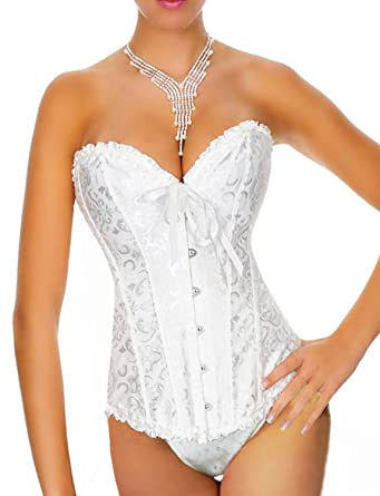 ef556aae810d6 Yummy Bee Womens Petite Corset Set Bridal Bustier Ivory White Push Up Size  2 Ivory