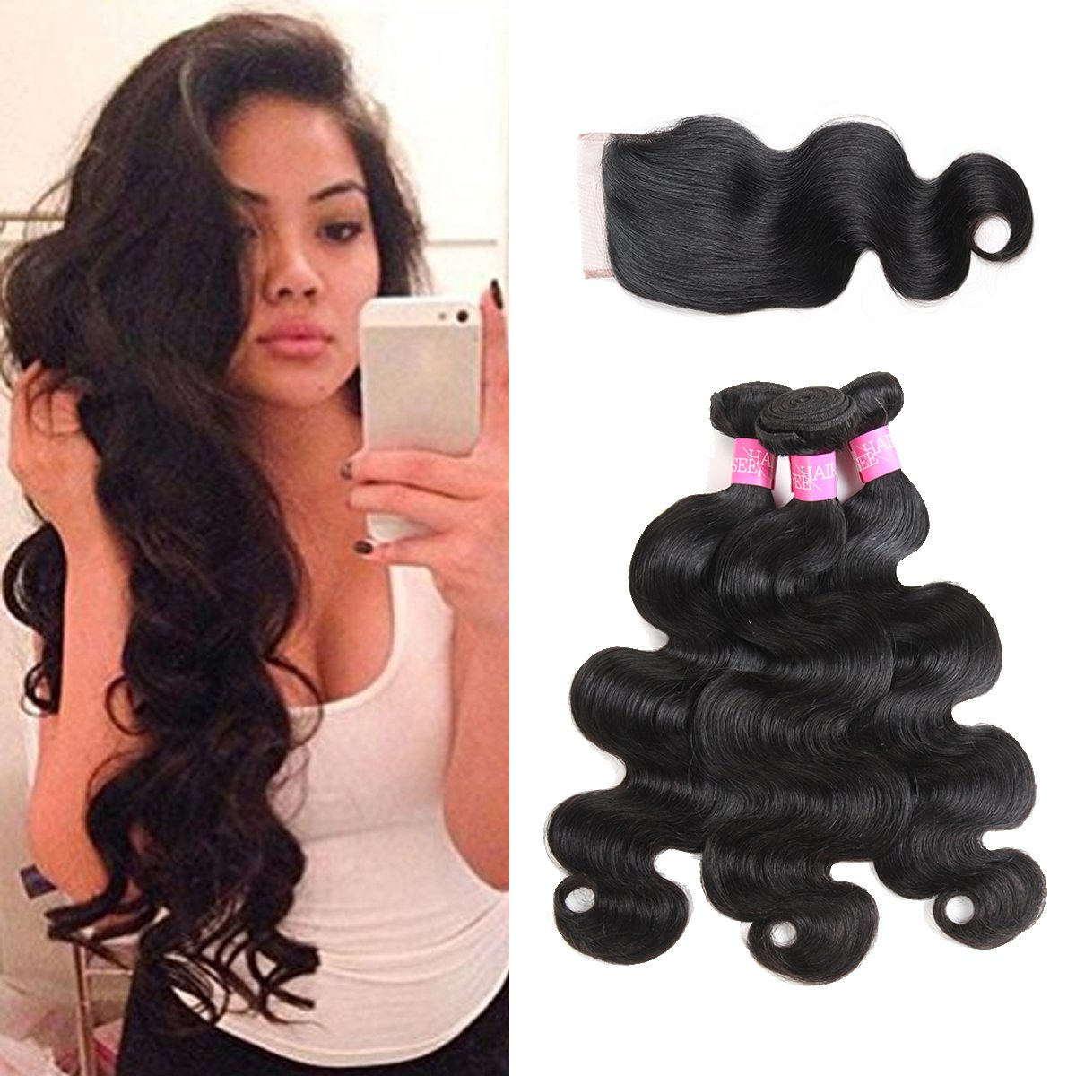 Amazon Isee Hair Unprocessed Virgin Brazilian Body Wave Human