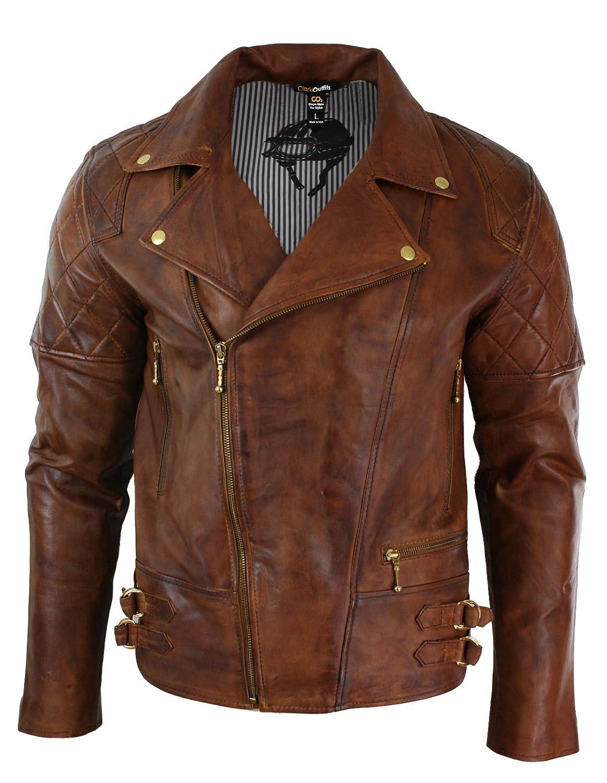 b4661bf2c77 Richline fashions CA Men s Retro Style Tan Brown Cross Zip Leather Jacket
