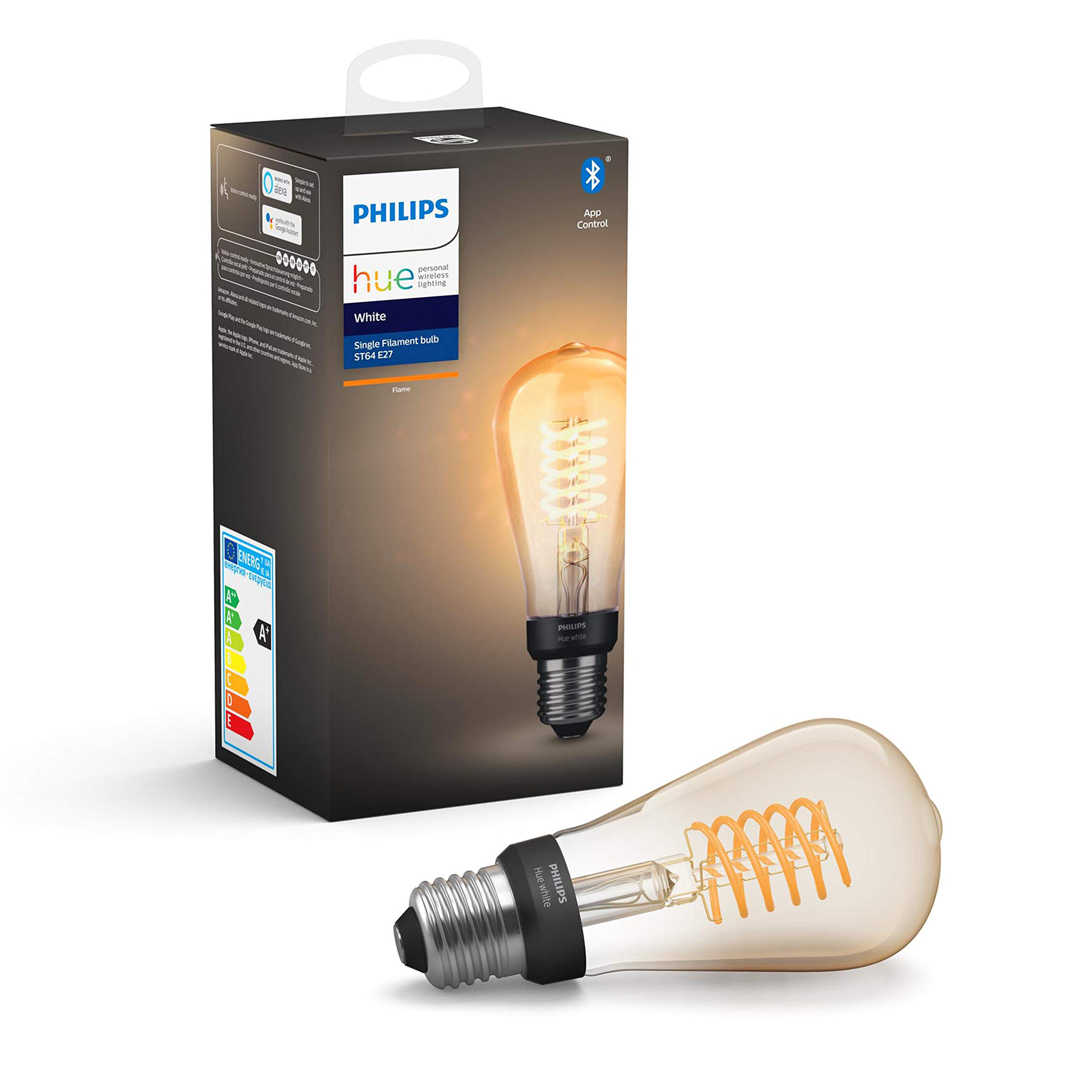 Philips Hue Bombilla Inteligente LED E27, con Bluetooth, Filamento ST64, Luz Blanca Cálida, Compatible con Alexa y Google Home