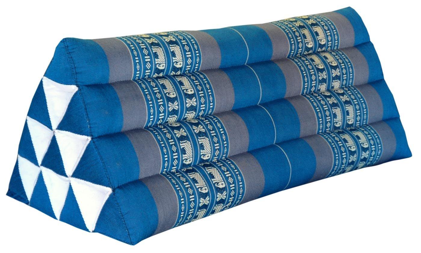 Thai triangular cushion XXL, blue/grey, relaxation, beach, kapok, made in Thailand.. (81715) by Wilai GmbH