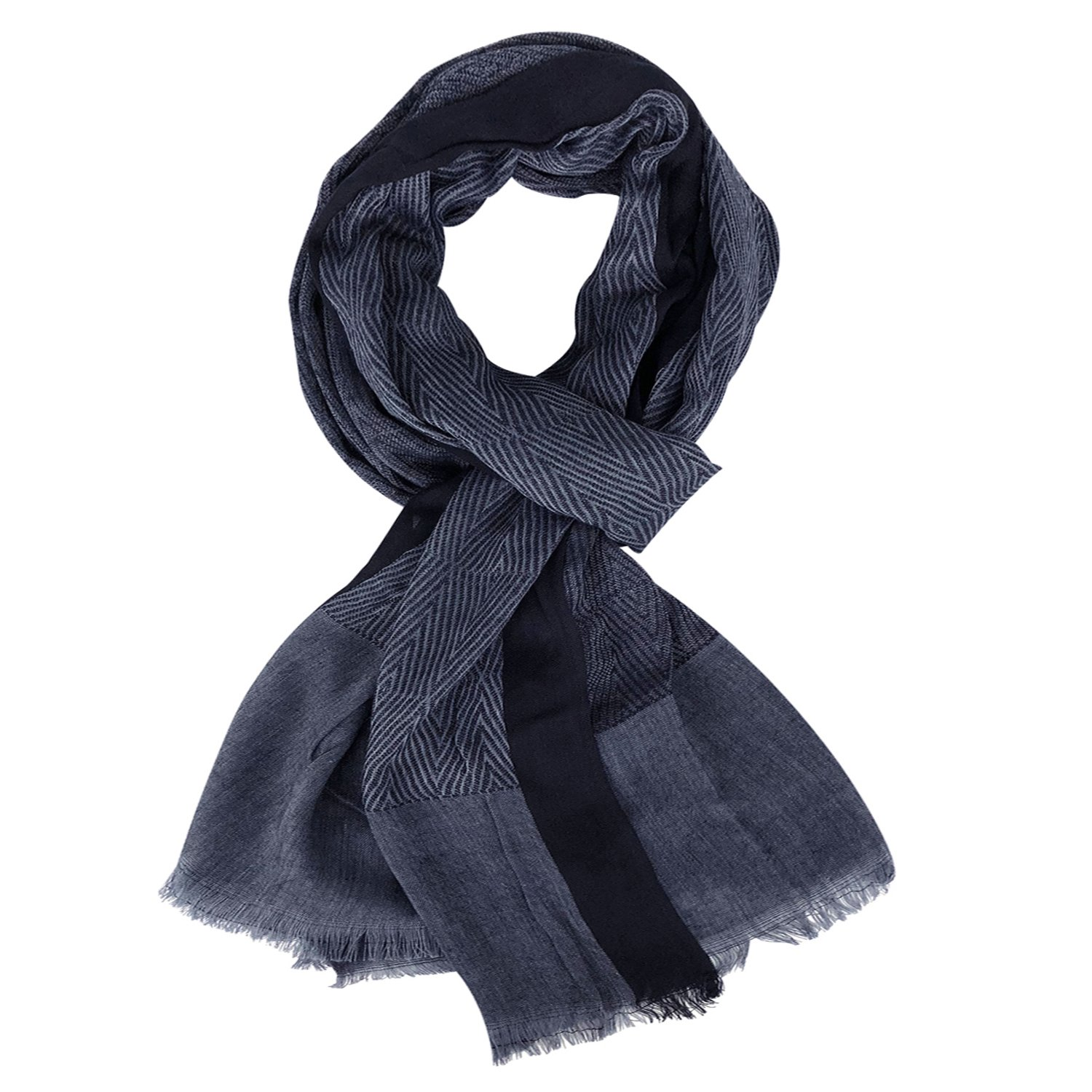 GERINLY Men Scarves Twill Cotton-Linen Long Winter Scarf (NavyBlue) by GERINLY (Image #1)