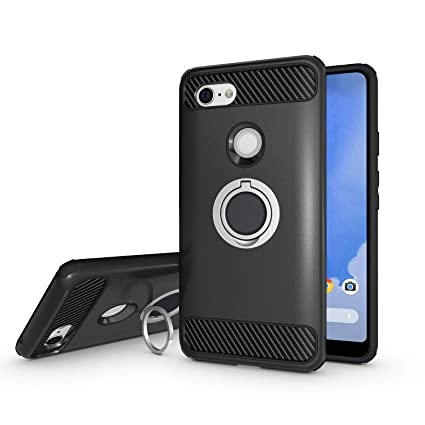 size 40 b5a71 dbe9e Newseego Compatible Google Pixel 3 XL Case, Armor Dual Layer 2 in 1 and  Finger Ring Holder Kickstand Fit Magnetic Car Mount for Google Pixel 3 ...