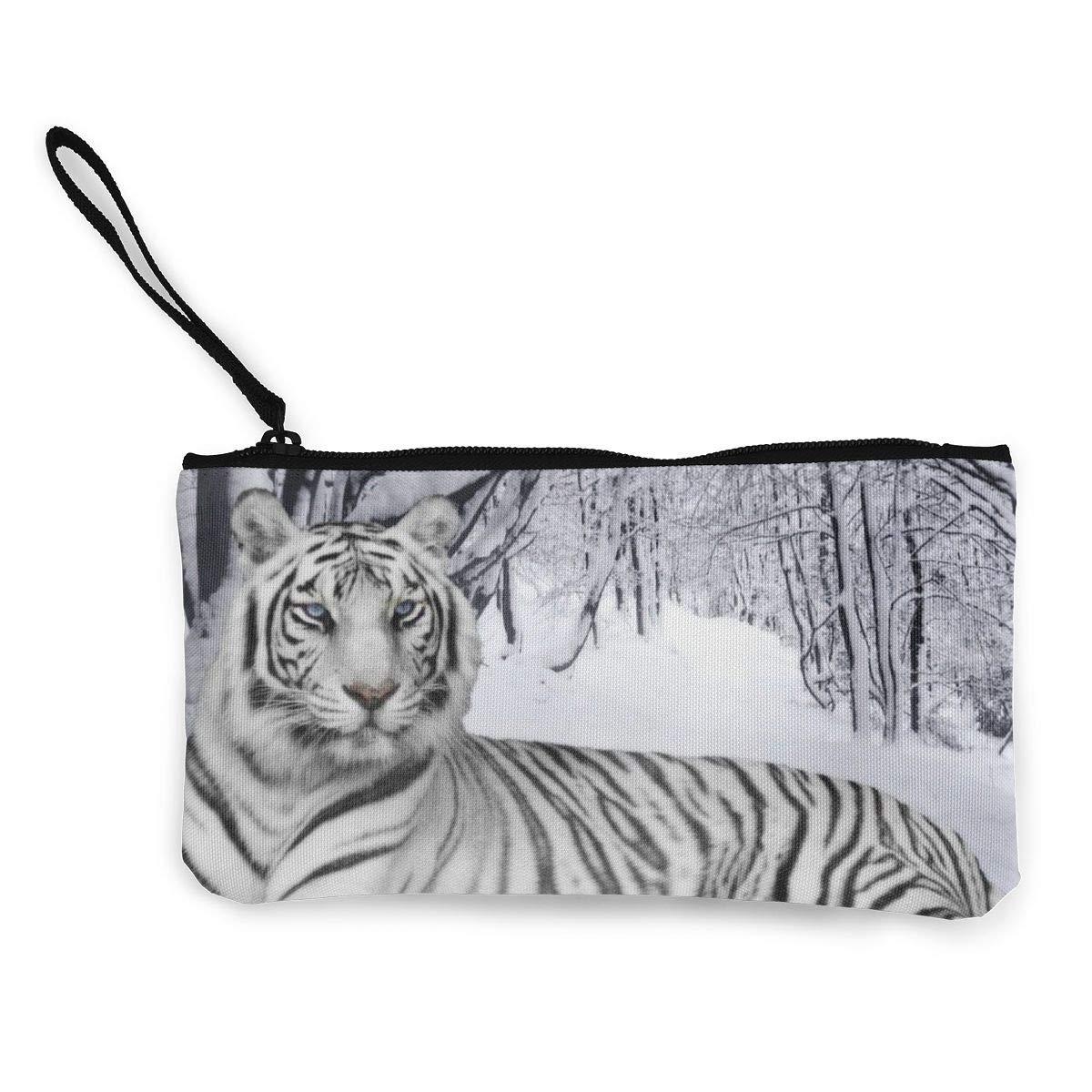 Canvas Cash Coin Purse,White Tiger Print Make Up Bag Zipper Small Purse Wallets