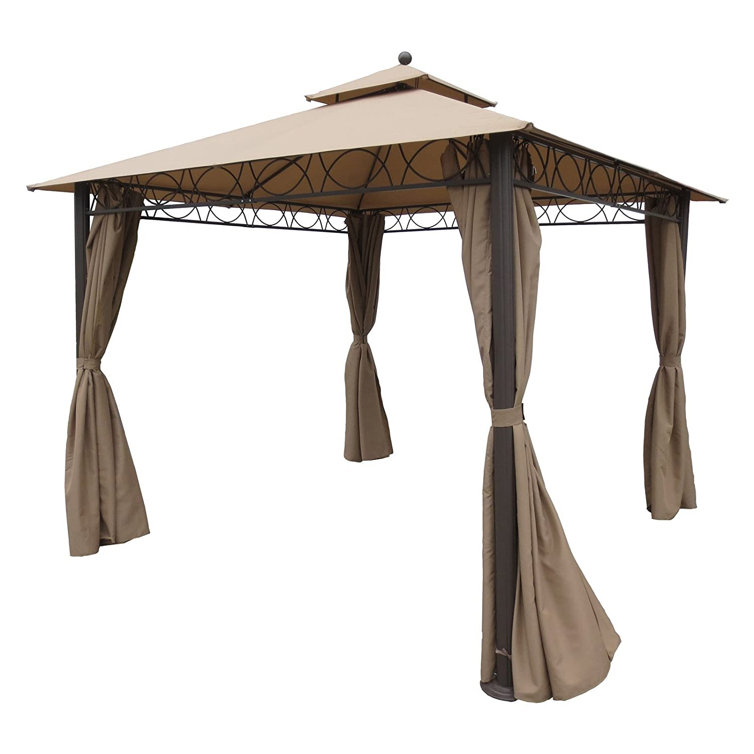 Amazon.com: International Caravan YF 3290 KH IC Furniture Piece Square 10  Foot Double Vented Gazebo With Drapes: Kitchen U0026 Dining