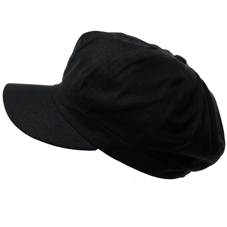 8f15f0585c6 Summer 100% Cotton Plain Blank 8 Panel Newsboy Gatsby Apple Cabbie Cap Hat  Black at Amazon Women s Clothing store