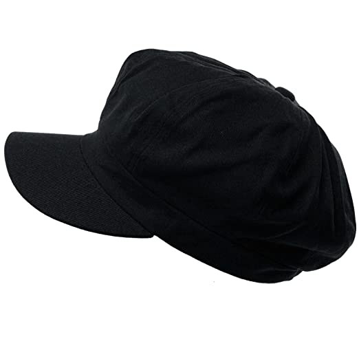 eb1dfeaf5ca Summer 100% Cotton Plain Blank 8 Panel Newsboy Gatsby Apple Cabbie Cap Hat  Black