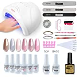 Vishine Gel Nail Polish Starter Kit with 48W SUNOne UV LED Nail Lamp Speed Dryer Manicure Tools 6 Pretty Colors Gel…