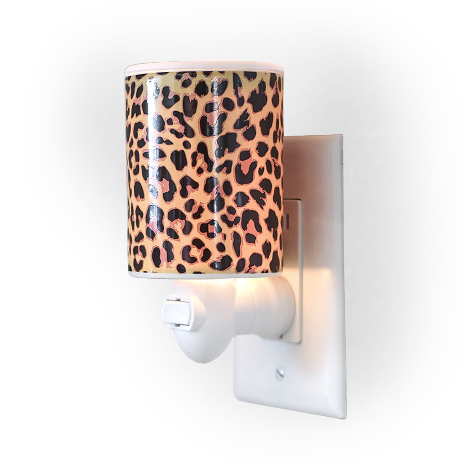 Happy Wax Outlet Wax Melt Warmer for Wax Melts, Tarts & Cubes - Ceramic Wax Melter with Patent Pending No Mess Silicone Top [Leopard Print]