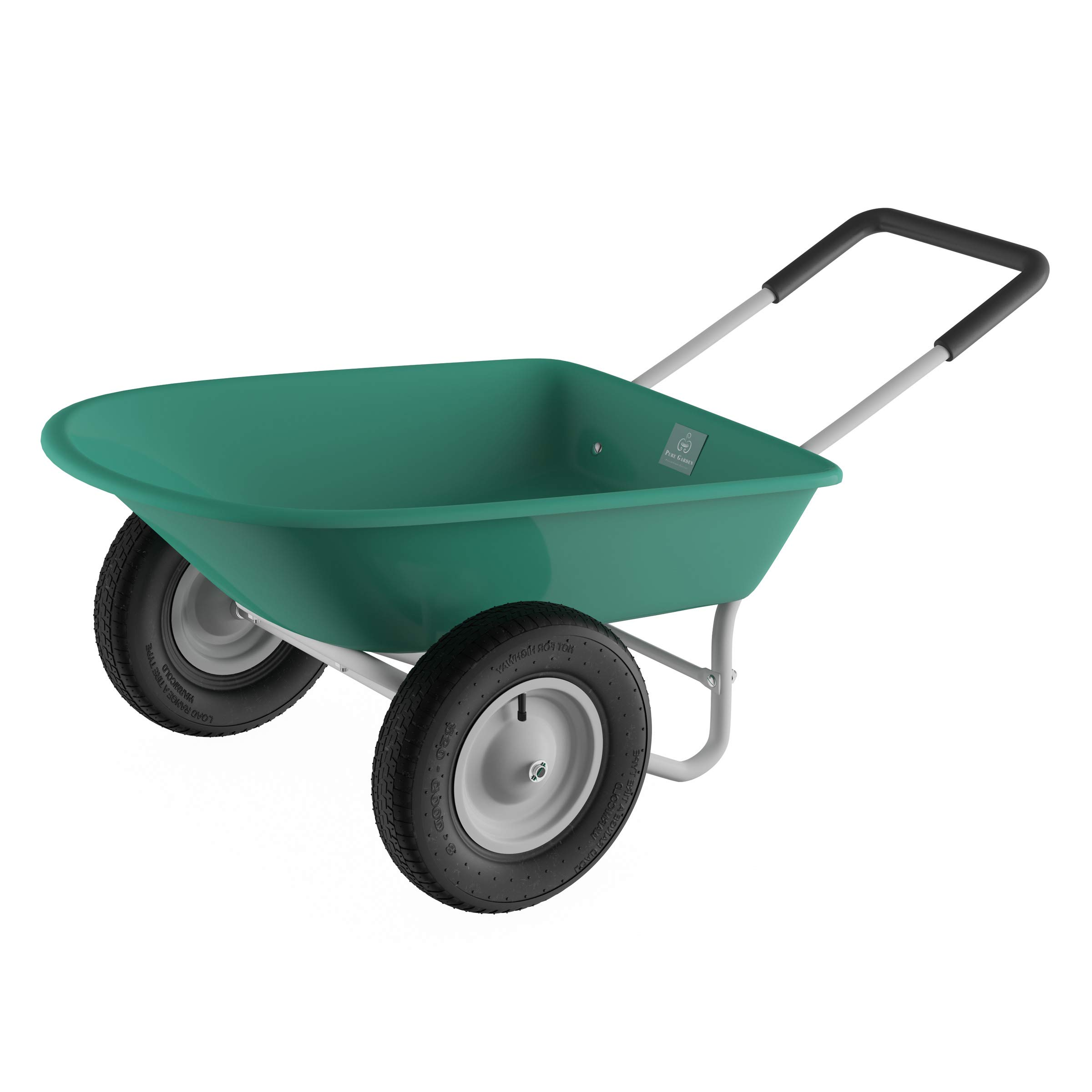 Pure Garden (PURNC) 50-LG1079 Pure 2-Wheeled Garden Wheelbarrow – Large Capacity Rolling Utility Dump Cart for Residential DIY Landscaping, Lawn Care and Remodeling by Pure Garden (PURNC) (Image #5)