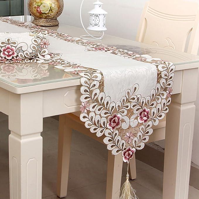 Amazon.com: eDealMax decoración de flores Mesa de comedor Runner Tapiz bordado borla cordón floral de 16 pulgadas por 72: Kitchen & Dining