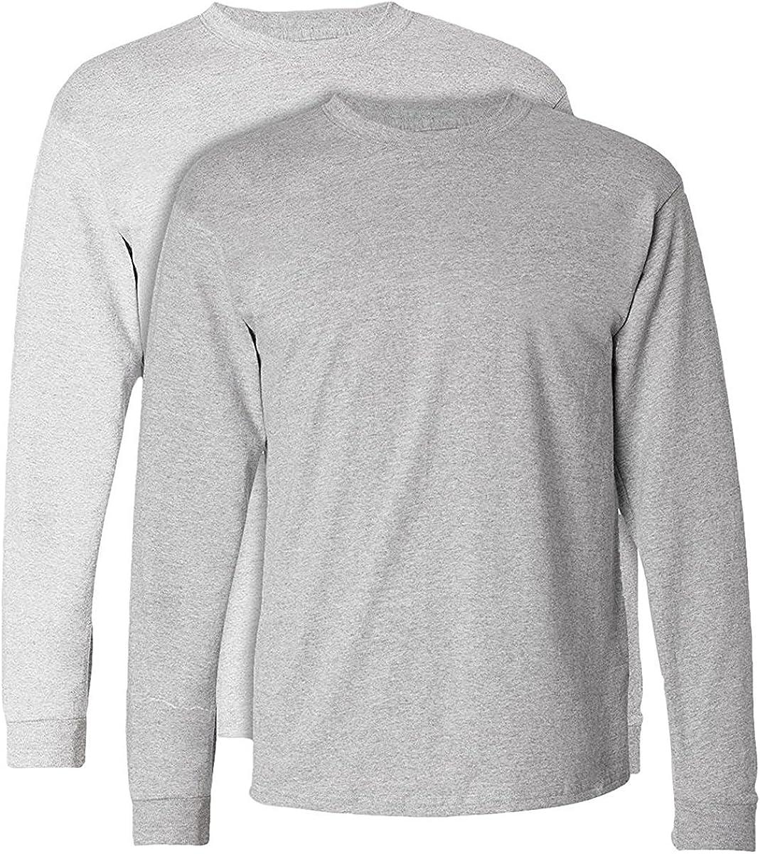 Set of 2 Hanes TAGLESS Long-Sleeve T-Shirt