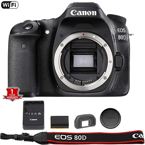 Canon EOS 80D Digital SLR Camera Body (Black) (International Model) No Warranty Digital SLR Camera Bundles at amazon