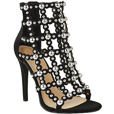 Fashion Thirsty Damen Sandalen & mit Stiletto-Bbsatz - Nieten & Sandalen Riemen be1770