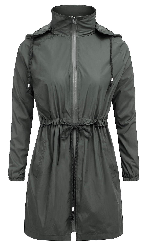 Green FISOUL Women Raincoats Waterproof Lightweight Rain Jacket Windbreaker Hooded Trench Coats SXXL