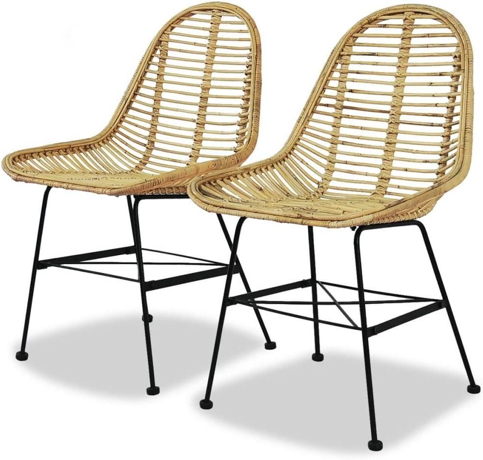 fzyhfa silla de comedor 2pcs asiento ratán natural + patas en hierro forjado y mimbre Natural