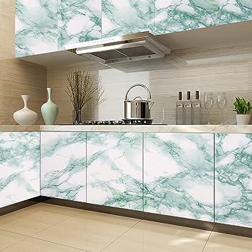 kinlo 1 rouleau stickers meubles adhsif pour cuisine 5 x 061m papier peint marbre en