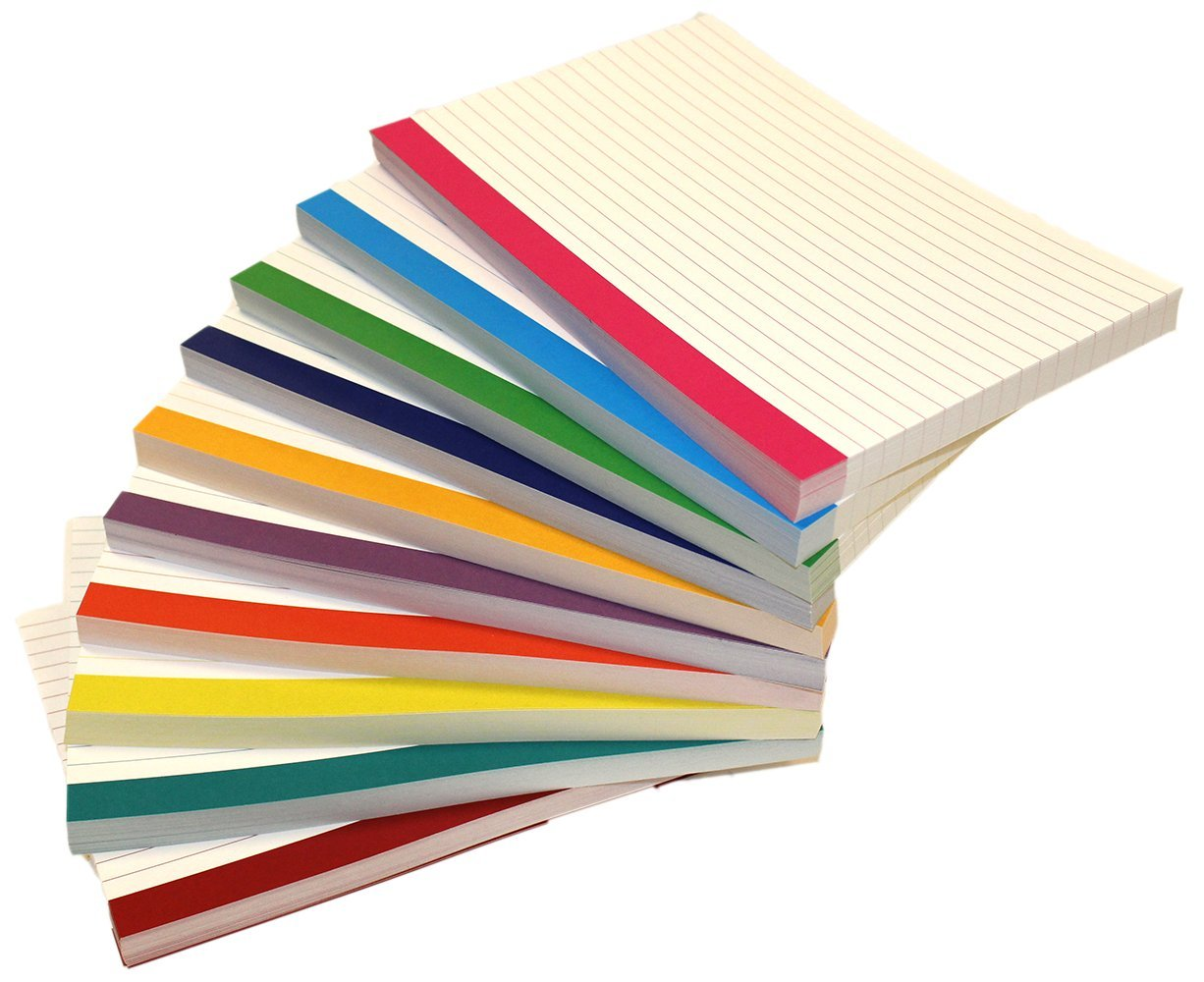 Debra Dale Designs - Color Bar Ruled Single Sided Index Cards - 5 x 8 Inches - White - 500 (50 each of 10 colors) - Wrapped in 2 packages of 250 - Standard 110# Index Card Stock - 199 GSM - .009 Thick