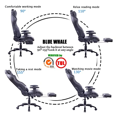 Blue Whale Massage Gaming Chair with Footrest Matel Base-Memory Foam Adjustable Backrest Reclining PC Computer Video Gamer Chair Racing High Back Game Chairs PU Leather Desk Office Chair BW 263 Black