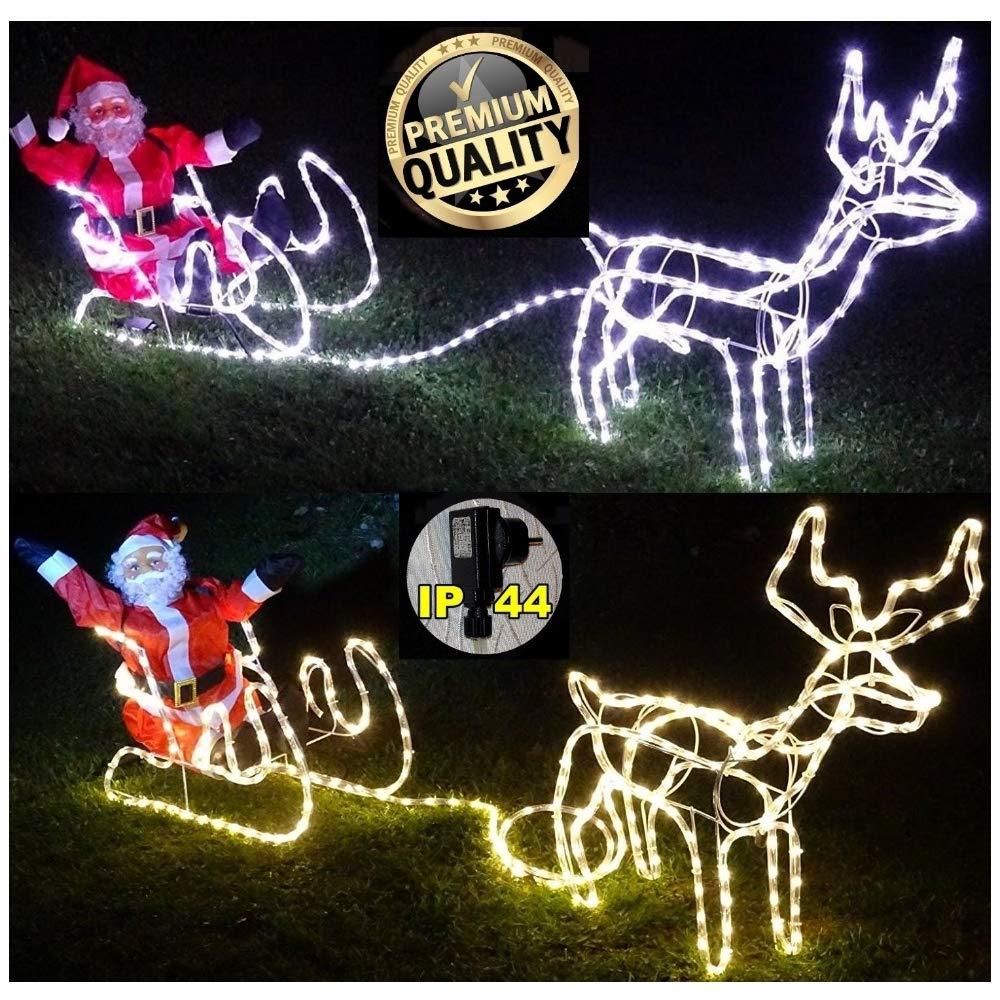 XXL LED **Magic** Rentier + Schlitten + Weihnachtsmann~8 Programme (Flash bis Standlicht) ca. 2 Meter lang + 70 cm hoch Deluxe Premium Set~336 LED`S~kaltweiss oder warmweiss~IP44~ (kaltweiss) CUDEK LED PRODUCTS