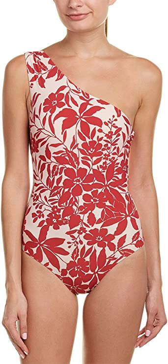 Red Carter Womens Lace Back One Shoulder Maillot Bathing Swim Suit