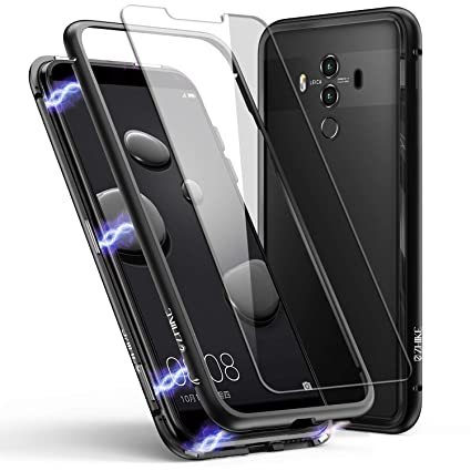 size 40 64d67 6866f Huawei Mate 10 Pro Case, ZHIKE Magnetic Adsorption Case Metal Frame  Tempered Glass Back with Built-in Magnet Cover for Huawei Mate 10 Pro  (Clear ...