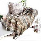 Plaid Doux et Chaud de Style Bohême, Couverture pour le Fauteuil et le Lit, Jeté de Canapé Serviette Chaude Décorative, 130 x 160cm (Écru)