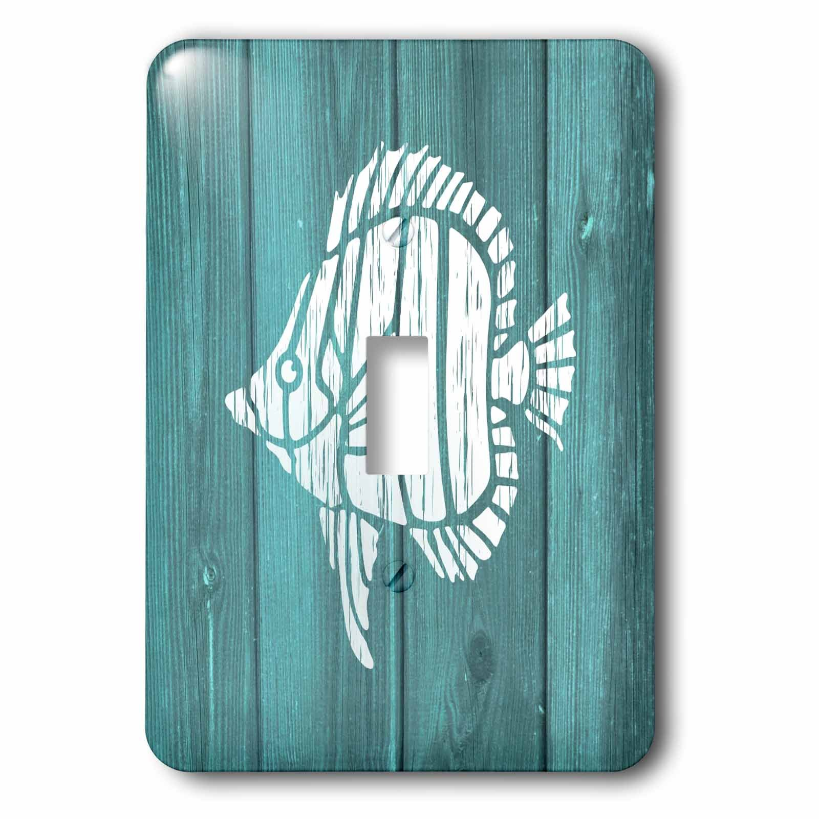3dRose lsp_220421_1 White Painted Tropical Fish On Teal Background- Not Real Wood - Single Toggle Switch
