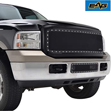 Amazon Com Eag Rivet Mesh Grille Stainless Steel Replacement With Shell Fit For 05 07 Super Duty F250 F350 F450 F550 Automotive