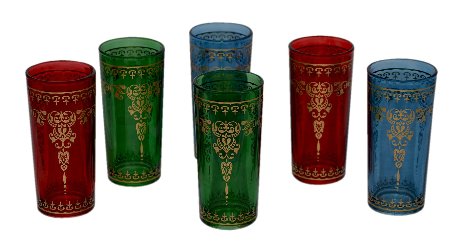 Tea Serving & Glasses Moroccan Iced Tea Glasses Set of 6 Colorful 8 Oz Tall Exquisite and Royal Premier Quality for Cocktail Lemonade