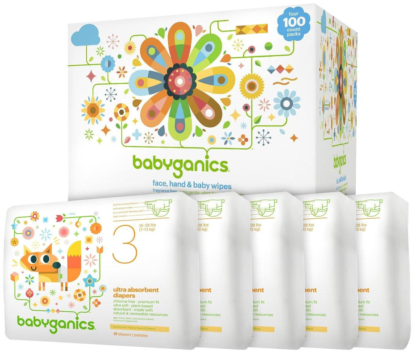 Babyganics Diapers & Wipes Bundle - Size 3
