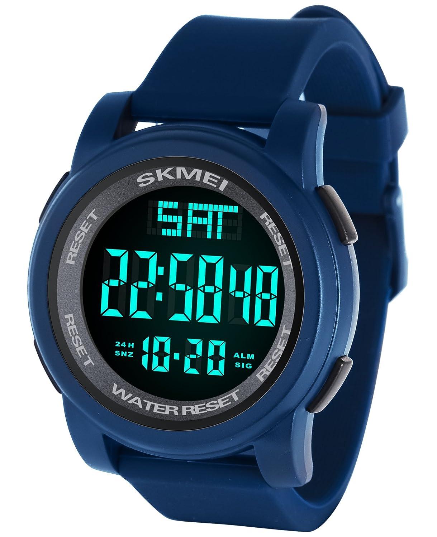 Reloj digital con LED para hombre, de estilo militar, resistencia al agua de 5 ATM, con funciones de alarma, calendario, reloj y cronómetro, marca Vemupohal