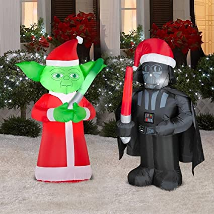 stars wars darth vader and yoda inflatable christmas yard decorations 35 ft - Star Wars Blow Up Christmas Decorations