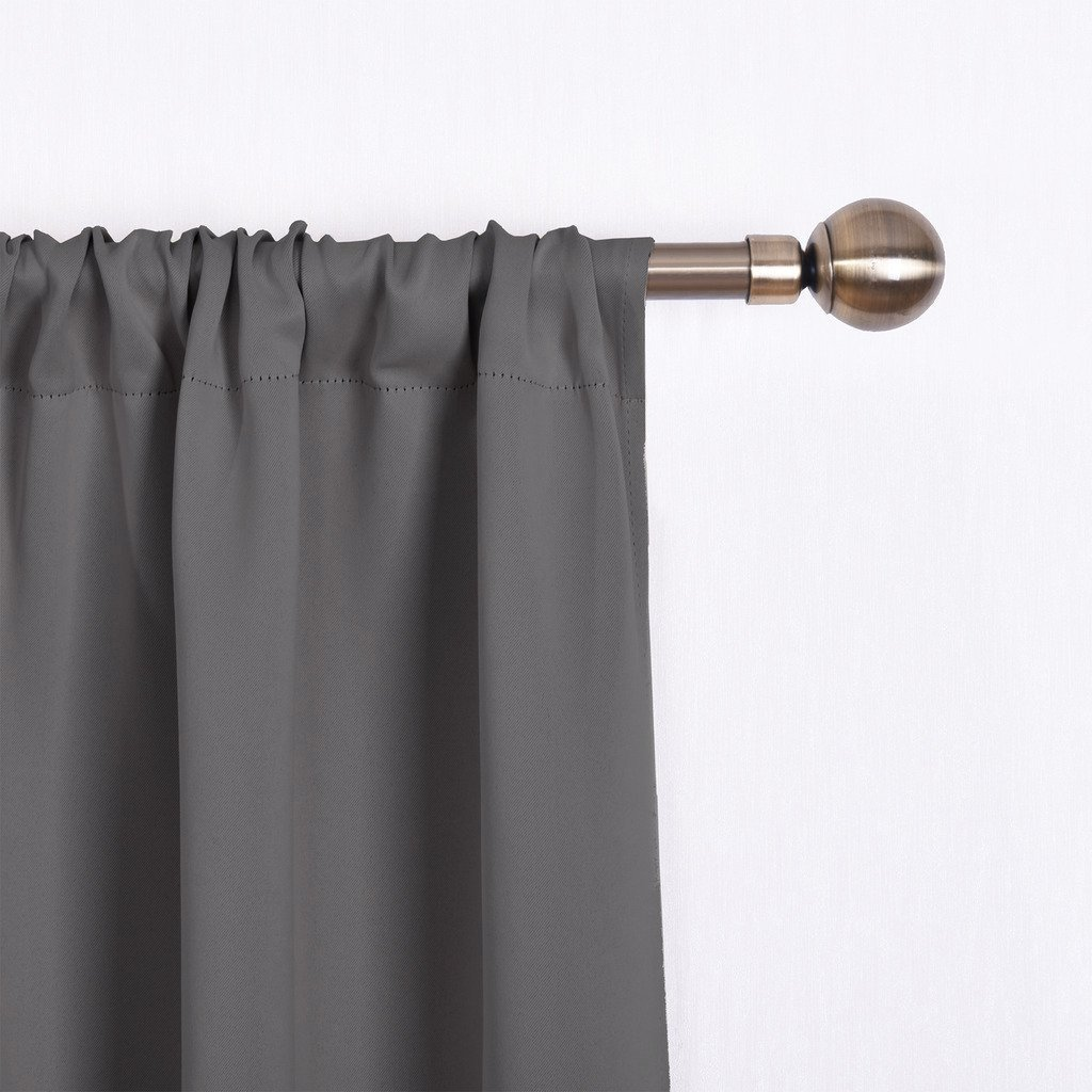 NICETOWN Thermal Insulated Blackout Curtain - Grey Tie Up Shade for Small Window, Window Valance Balloon Blind (Rod Pocket Panel, 46'' W x 63'' L) by NICETOWN (Image #4)