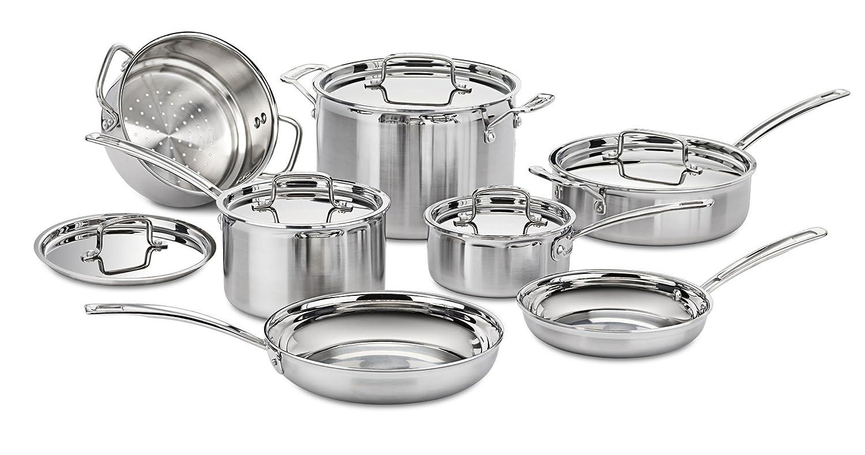 Cuisinart MCP-12N Multiclad Pro Stainless Steel 12-Piece Cookware Set (Certified Refurbished)