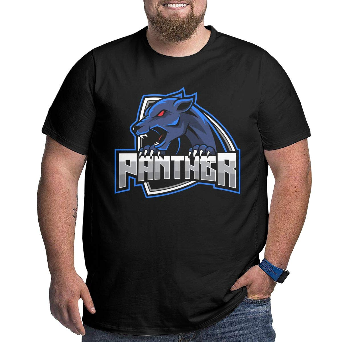 LONGTENG Personalized Animal Predatory Panthers Big Size T Shirt O-Neck 100/% Soft Cotton for Man Black