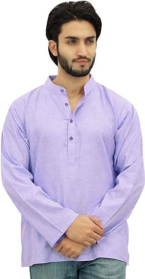 Atasi Casual Men/'s Long Cotton Mandarin Collar Gray Shirt Tunic