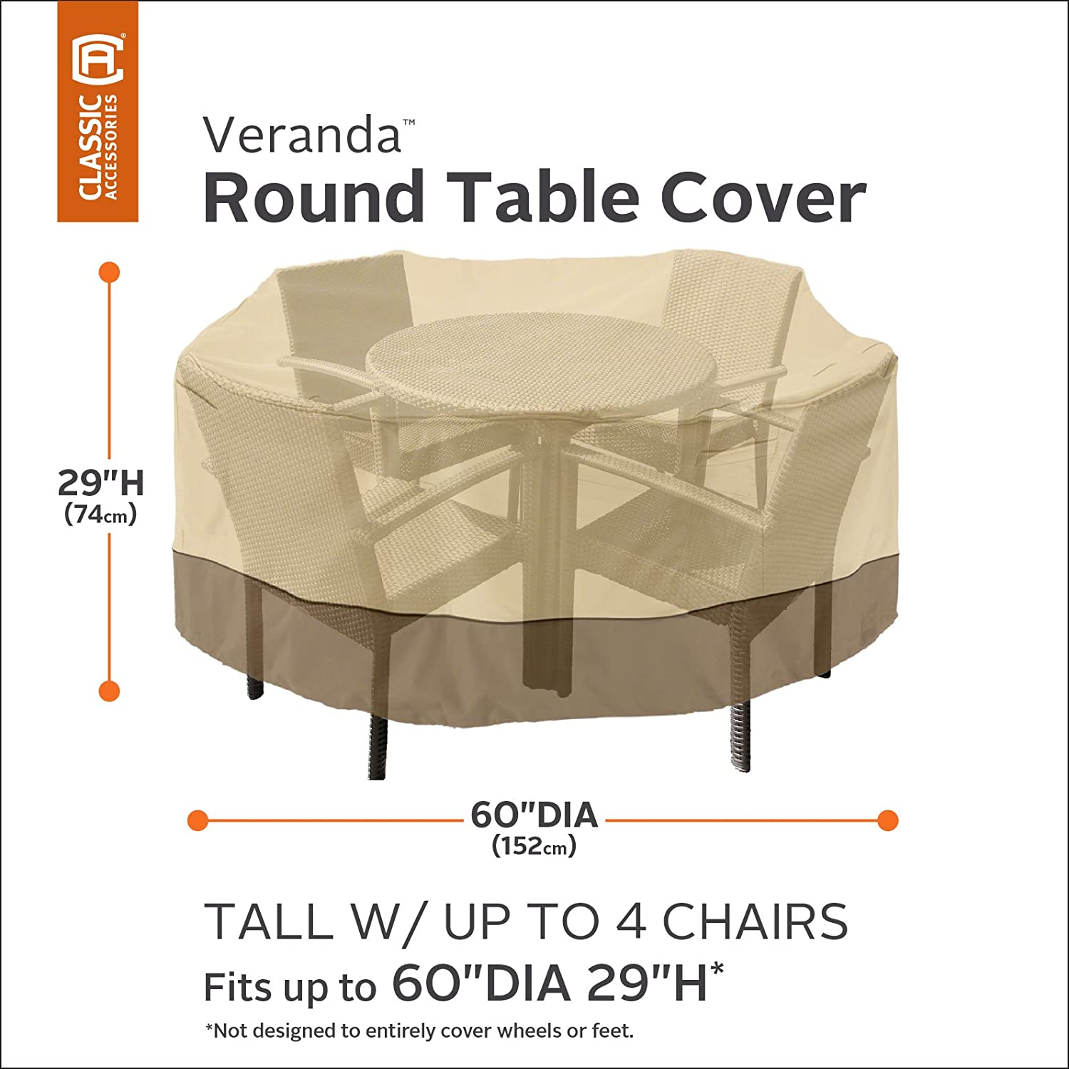 Amazon.com : Classic Accessories Veranda Round Patio Table U0026 Chair Set  Cover   Durable And Water Resistant Patio Furniture Cover, Tall (71922) :  Patio ...