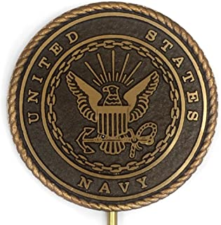 """product image for 6"""" Large - Navy Grave Marker, Bronze Cemetery Plaque for an American Veteran, Memorial Flag Holder, Made in USA"""