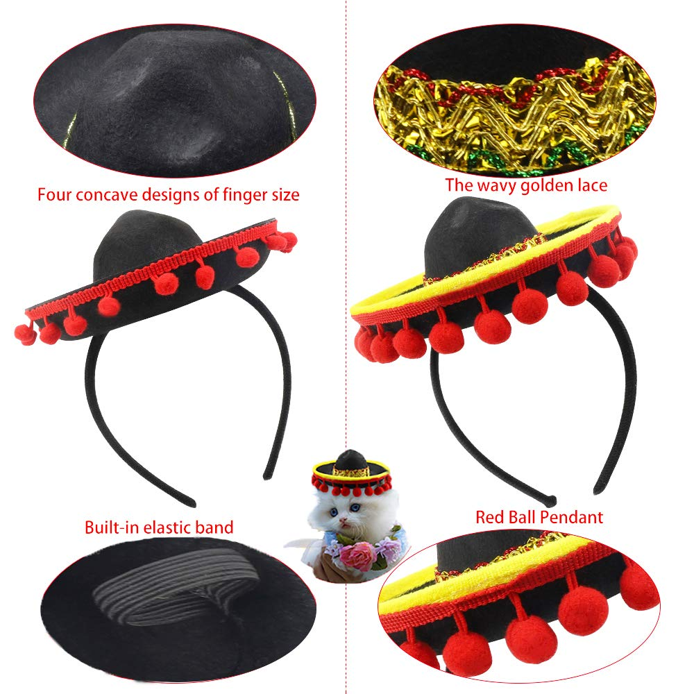 Cinco De Mayo 4 Pcs Small Fiesta Sequined Fabric and Straw Sombrero Headbands Party Costume for Mexican Theme Party,Fun Fiesta Taco Party Supplies, Luau Party Photo Props, Dia De Muertos, Coco Birthday Party Decor, Carnival Party Supplies by QIQU (Image #8)