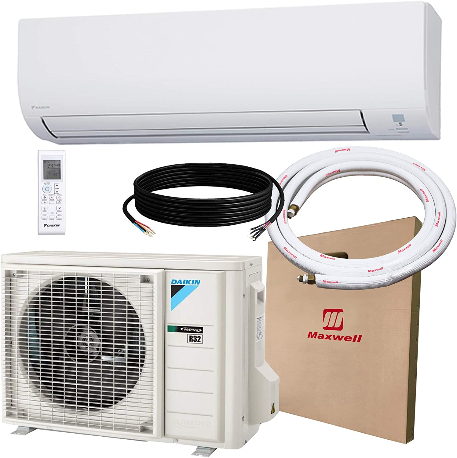 DAIKIN 9,000 BTU 19 SEER Wall-Mounted Ductless Mini-Split A/C Heat Pump System Maxwell 15-ft Installation Kit (230V) 12 Year Limited Warranty (9,000 BTU_208-230V)