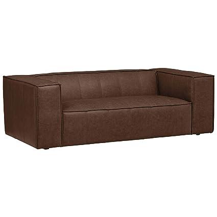 Fantastic Rivet Thomas Modern Top Grain Leather Sofa Couch 81 5W Chestnut Inzonedesignstudio Interior Chair Design Inzonedesignstudiocom