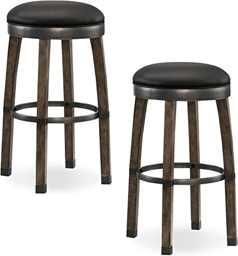 Leick Graystone Wood Cask Stave Bar Stool w Black Faux Leather Seat, Set of 2, Height