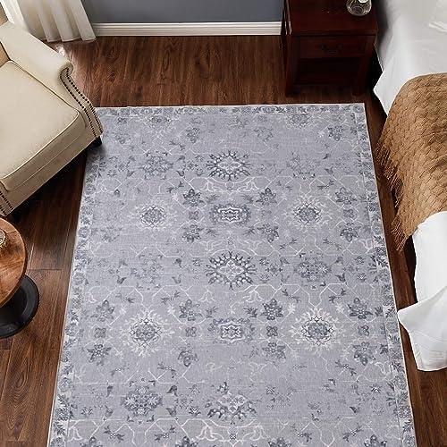 jinchan Vintage Area Rug Doormat Indoor Mat Floral Floorcover Grey 5'3″x 7'