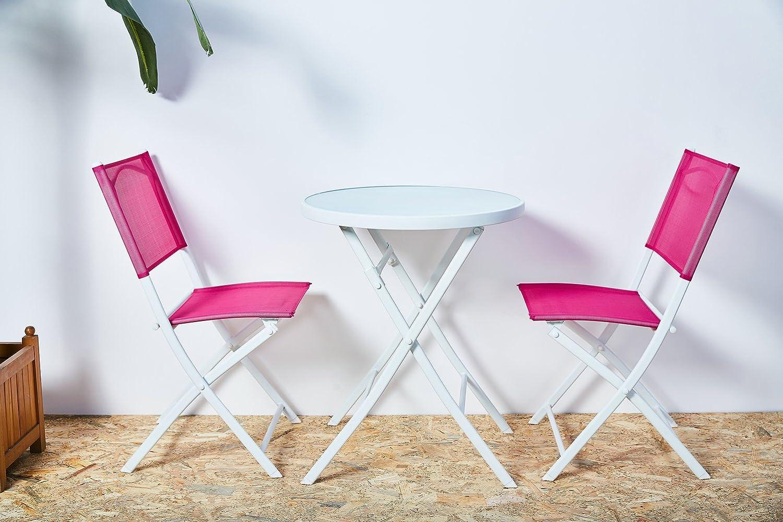Grand Patio Conjunto de mesa y sillas plegables para exterior, resistentes al Sol, ideal para balcón o jardín, de acero inoxidable y mesa de vidrio ...